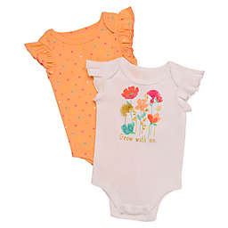 Baby Starters® 2-Pack Flowers Bodysuits in White/Orange