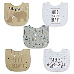 Neat Solutions® 5-Pack Boy Aspirational Water-Resistant Infant Bibs in Oatmeal/White