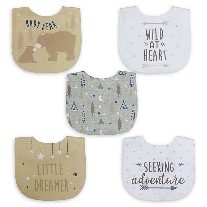 Alternate image 1 for Neat Solutions® 5-Pack Boy Aspirational Water-Resistant Infant Bibs in Oatmeal/White