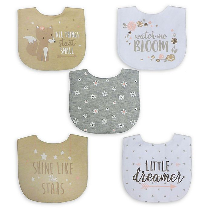 Alternate image 1 for Neat Solutions® 5-Pack Girl Aspirational Water-Resistant Infant Bibs in Oatmeal/White