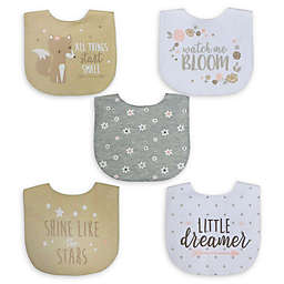 Neat Solutions® 5-Pack Girl Aspirational Water-Resistant Infant Bibs in Oatmeal/White