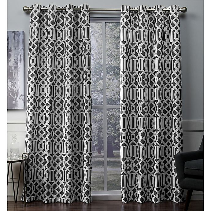 Alternate image 1 for Scrollwork 108-Inch Grommet Room Darkening Window Curtain Panel Pair in Black Pearl