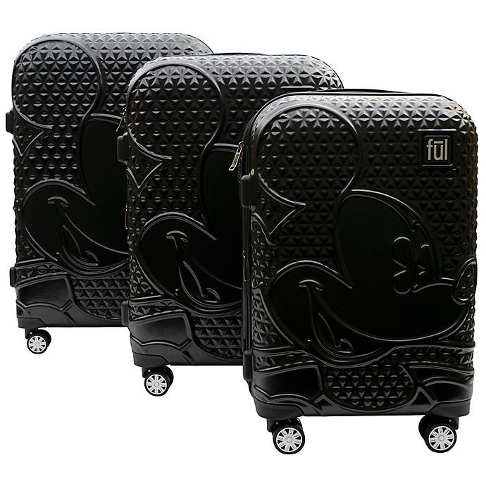 Alternate image 1 for ful® Disney® Textured Mickey 3-Piece Hardside Expandable Luggage Set in Black