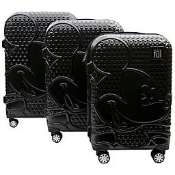 ful® Disney® Textured Mickey 3-Piece Hardside Expandable Luggage Set in Black
