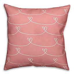 Designs Direct Love Hearts Square Throw Pillow in Pink