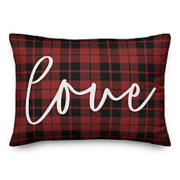 Designs Direct Love Plaid Oblong Throw Pillow in Red