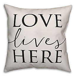 Designs Direct Love Lives Here Square Throw Pillow in Black