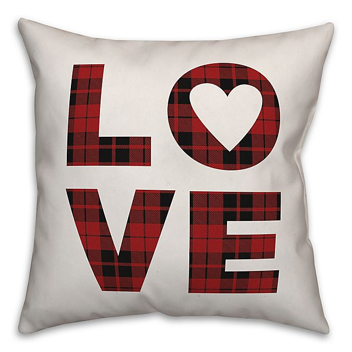 Alternate image 1 for Designs Direct Love Plaid Square Throw Pillow in Red