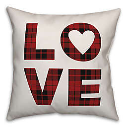 Designs Direct Love Plaid Square Throw Pillow in Red