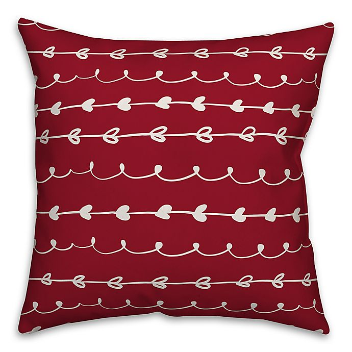 Alternate image 1 for Designs Direct Valentines Doodles Square Throw Pillow in Red