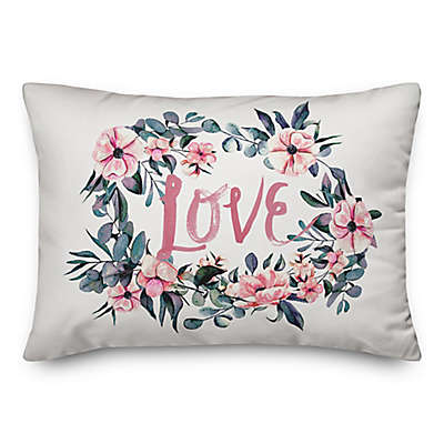 Designs Direct Love Watercolor Oblong Throw Pillow in Pink
