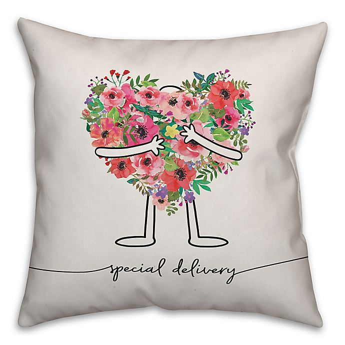 Alternate image 1 for Designs Direct Special Delivery Square Throw Pillow in Pink