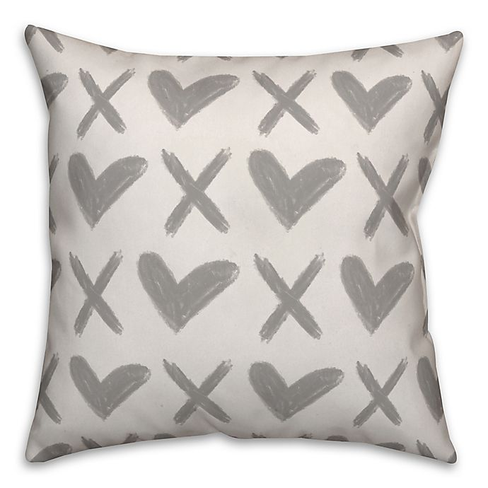 Alternate image 1 for Designs Direct XO Hearts Square Throw Pillow in Grey