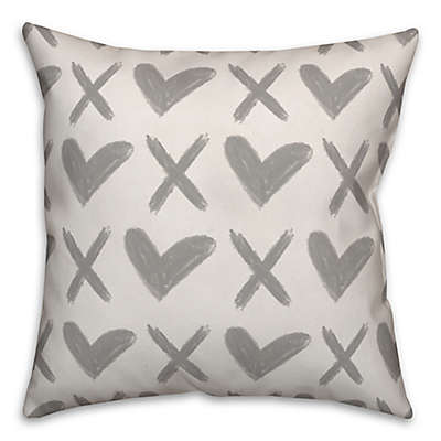 Designs Direct XO Hearts Square Throw Pillow in Grey