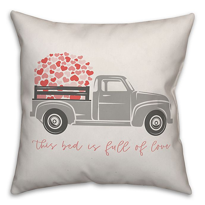 Alternate image 1 for Designs Direct Love Truck Square Throw Pillow in Grey