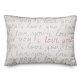 Designs Direct I Love You Script Oblong Throw Pillow in Grey