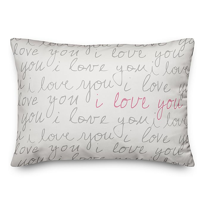 Alternate image 1 for Designs Direct I Love You Script Oblong Throw Pillow in Grey