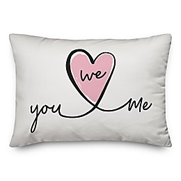 Designs Direct You, Me, We Oblong Throw Pillow in White