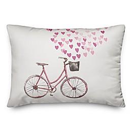 Designs Direct Valentine Bike Oblong Throw Pillow in White