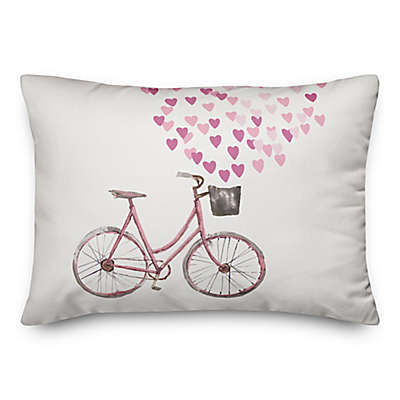 Designs Direct Valentine Bike Oblong Throw Pillow in White