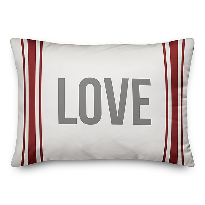 Alternate image 1 for Designs Direct Farmhouse Love Oblong Throw Pillow in Red