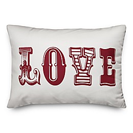 Designs Direct Vintage Love Oblong Throw Pillow in Red