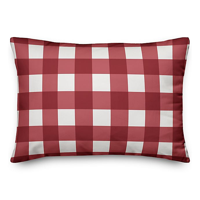 Alternate image 1 for Designs Direct Buffalo Check Oblong Throw Pillow in Red