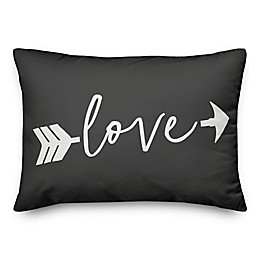 Designs Direct Love Arrow Oblong Throw Pillow in Grey