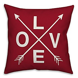 Designs Direct Love Arrow Square Throw Pillow in Red