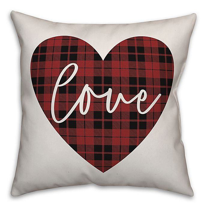 Alternate image 1 for Designs Direct Plaid Heart Square Throw Pillow in Red