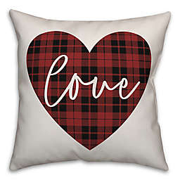 Designs Direct Plaid Heart Square Throw Pillow in Red