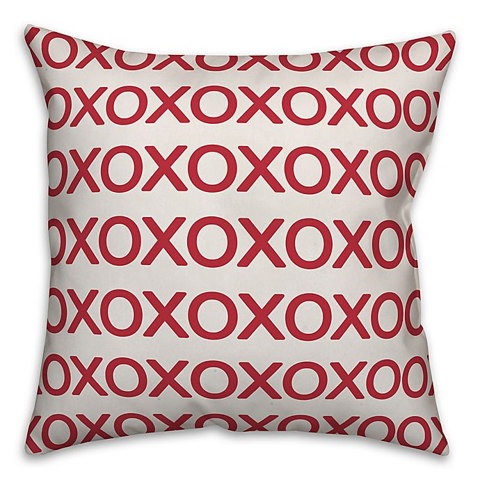 Alternate image 1 for Designs Direct XO Square Throw Pillow in Red