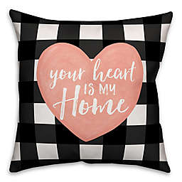 Designs Direct Your Heart is My Home Square Throw Pillow in Black
