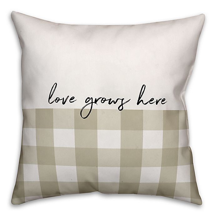 Alternate image 1 for Designs Direct Love Grows Here Square Throw Pillow in Tan