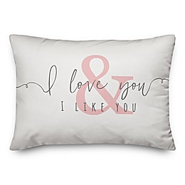 Designs Direct I Love & Like You Oblong Throw Pillow in White