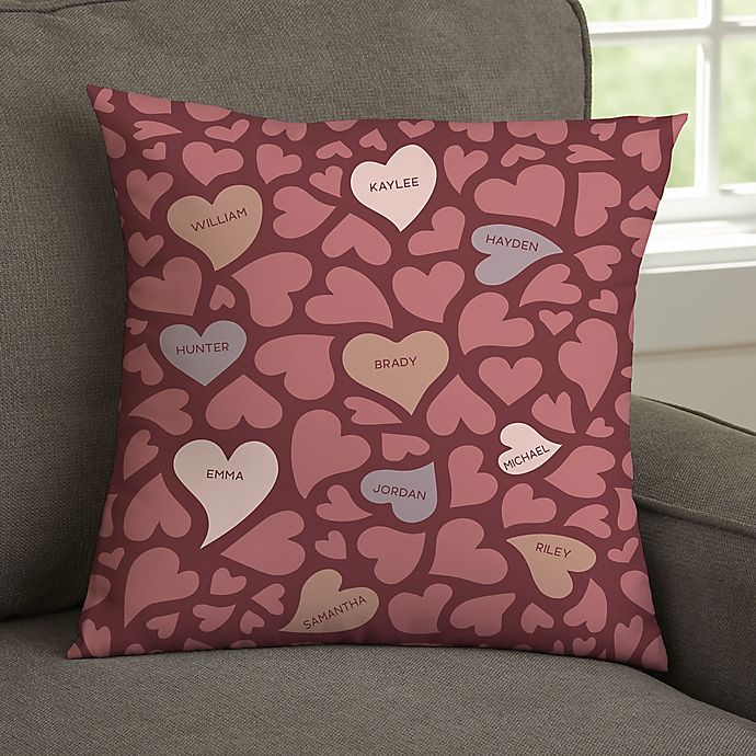 Alternate image 1 for Loving Hearts Personalized Throw Pillow