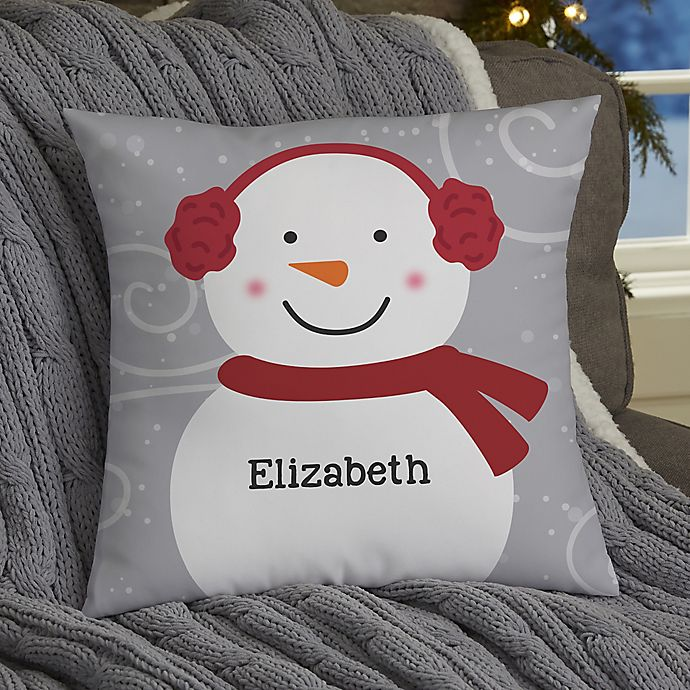 Alternate image 1 for Snowman Family Personalized Throw Pillow