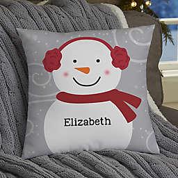 Snowman Family Personalized Throw Pillow