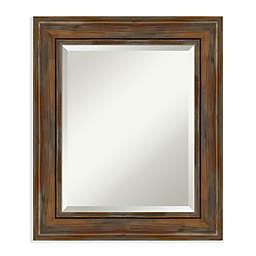 Amanti Art Rustic Alexandria Brown Framed Wall Mirror