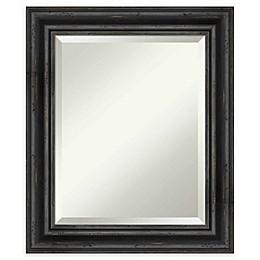 Amanti Art Rustic Black Pine Framed Wall Mirror