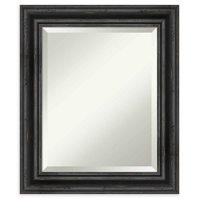 Alternate image 1 for Amanti Art Rustic Black Pine Framed Wall Mirror