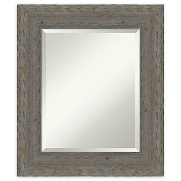 Alternate image 1 for Amanti Art Fencepost Grey 23-Inch x 27-Inch Framed Wall Mirror
