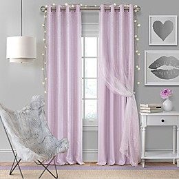 Elrene Aurora Kids Room Grommet Darkening Layered Sheer Window Curtain Panel