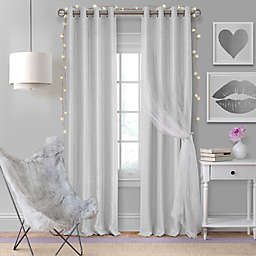 Elrene Aurora Kids 84-Inch Grommet Darkening Layered Sheer Curtain Panel in Pearl Grey (Single)