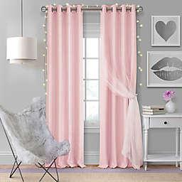 Elrene Aurora Kids 63-Inch Grommet Darkening Layered Sheer Curtain Panel in Soft Pink (Single)