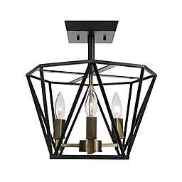 Globe Electric 3-Light Flush Mount Ceiling Light in Dark Bronze