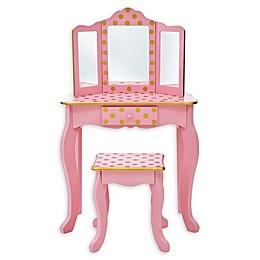 Teamson Kids  Fashion Polka Dot Prints Gisele Toy Vanity Set in Pink/Rose gold