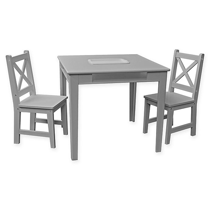 Alternate image 1 for ACEssential® 3-Piece Kid's Table and Chairs Set in Grey