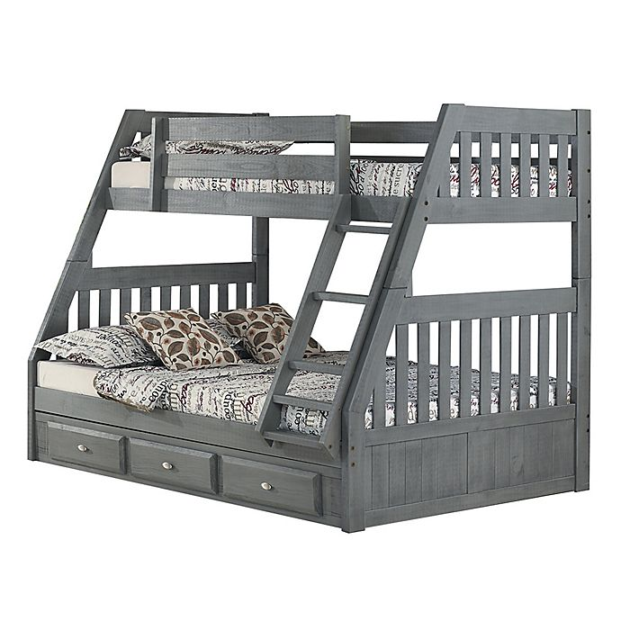 Alternate image 1 for Discovery World Furniture™ Twin Over Full Bunk Bed with Drawers in Charcoal