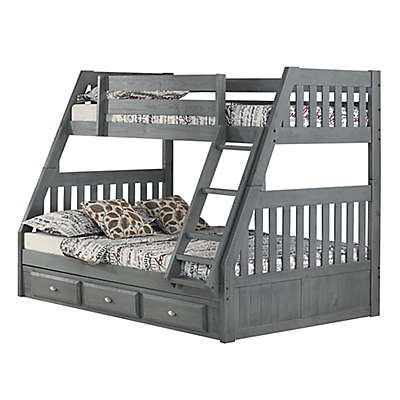Discovery World Furniture™ Twin Over Full Bunk Bed with Drawers in Charcoal
